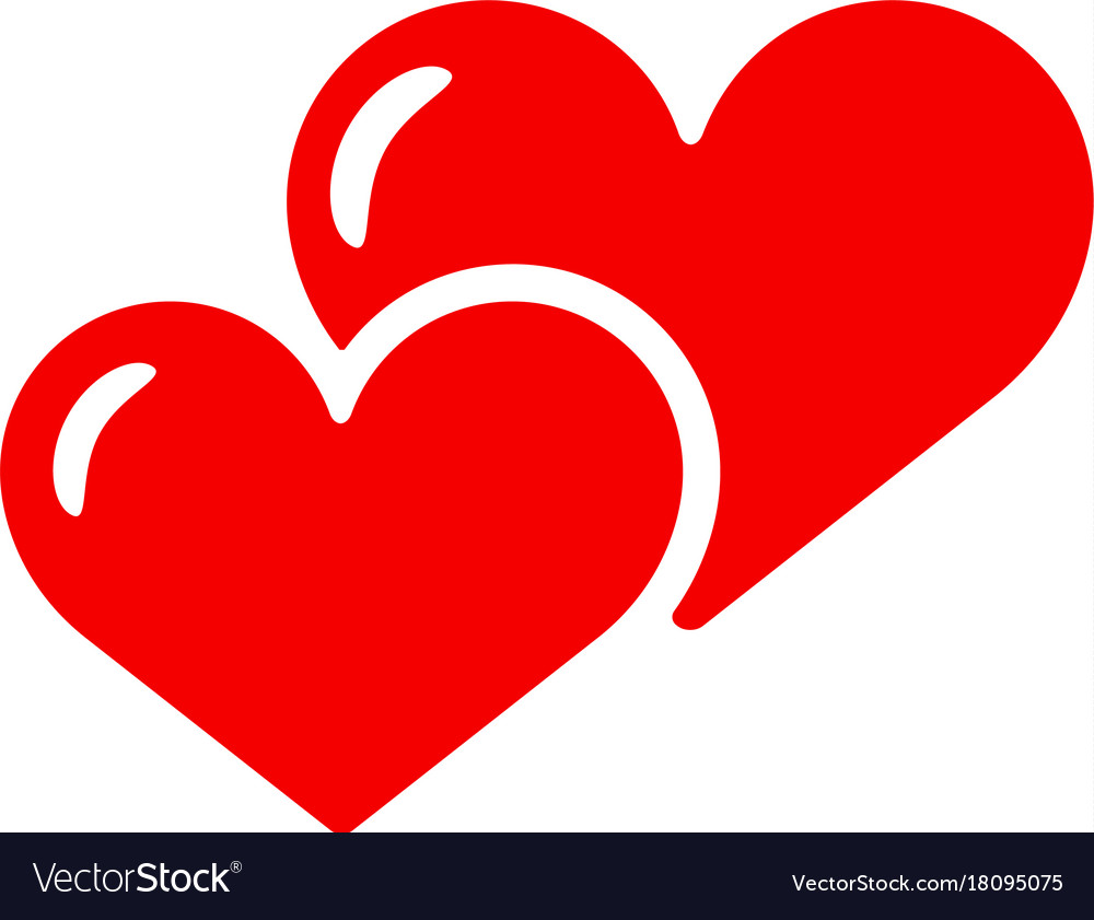 Download Two hearts icon isolated love red smbol Royalty Free Vector