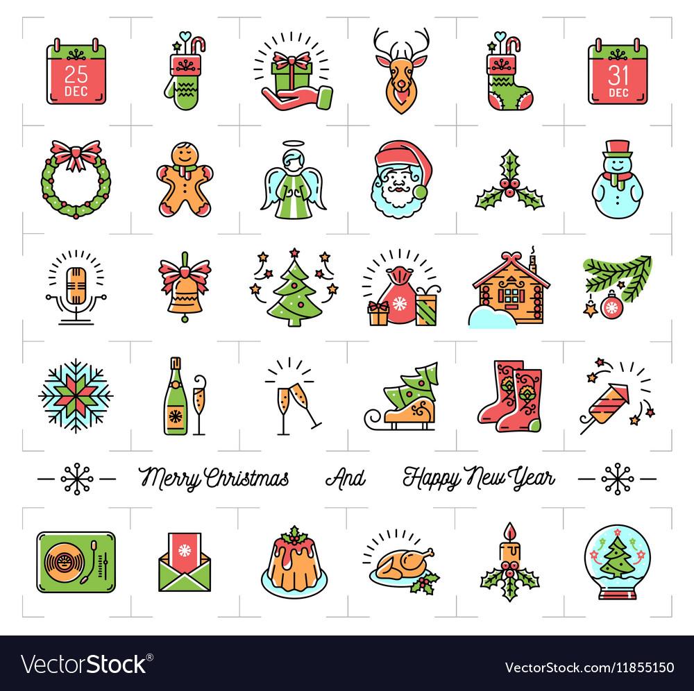 christmas icons set new