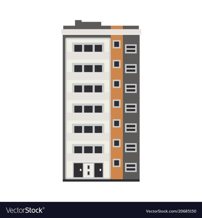 City Apartment House Front View In Flat