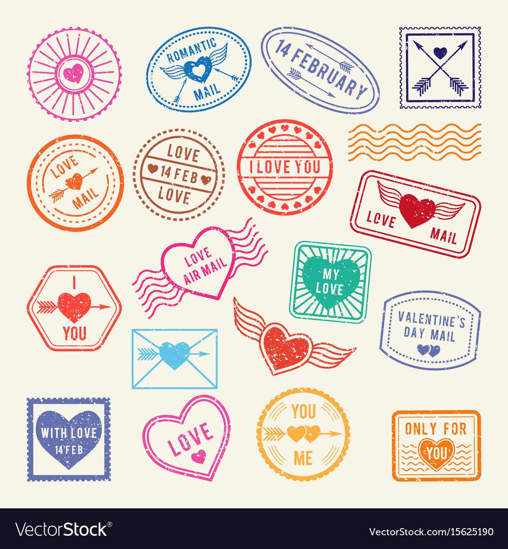 vintage romantic postal stamps