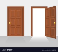 Open and closed house front door Royalty Free Vector Image
