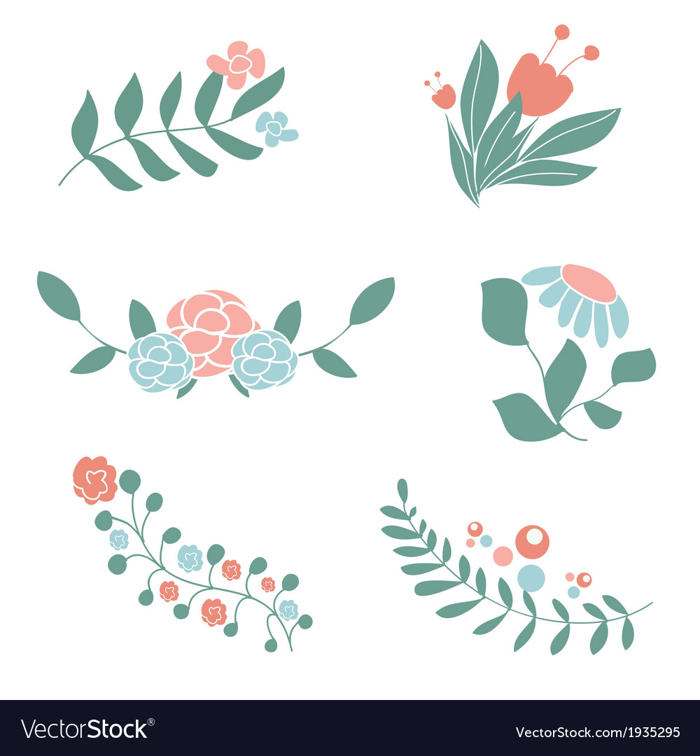 set of cute floral