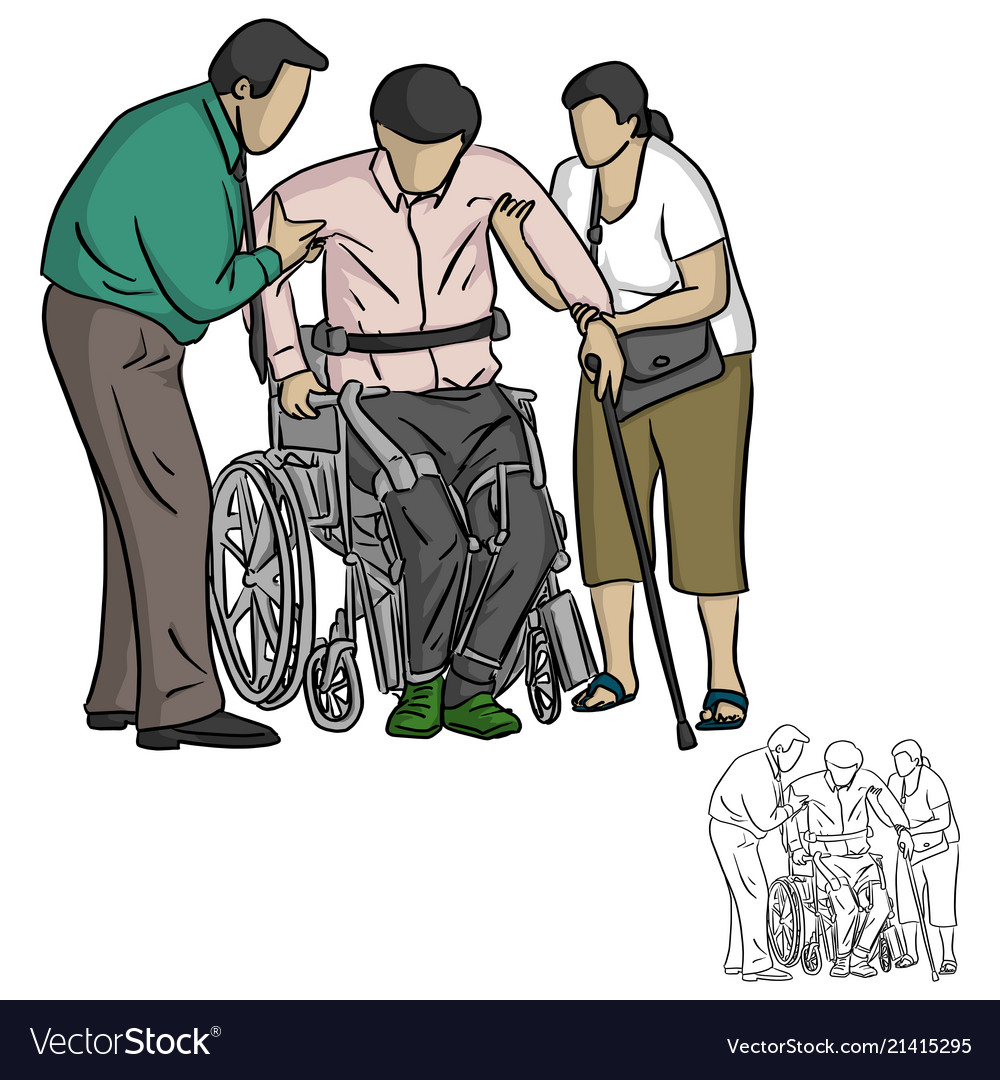 two people helping handicapped