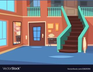 cartoon hallway entrance interior vector vectorstock
