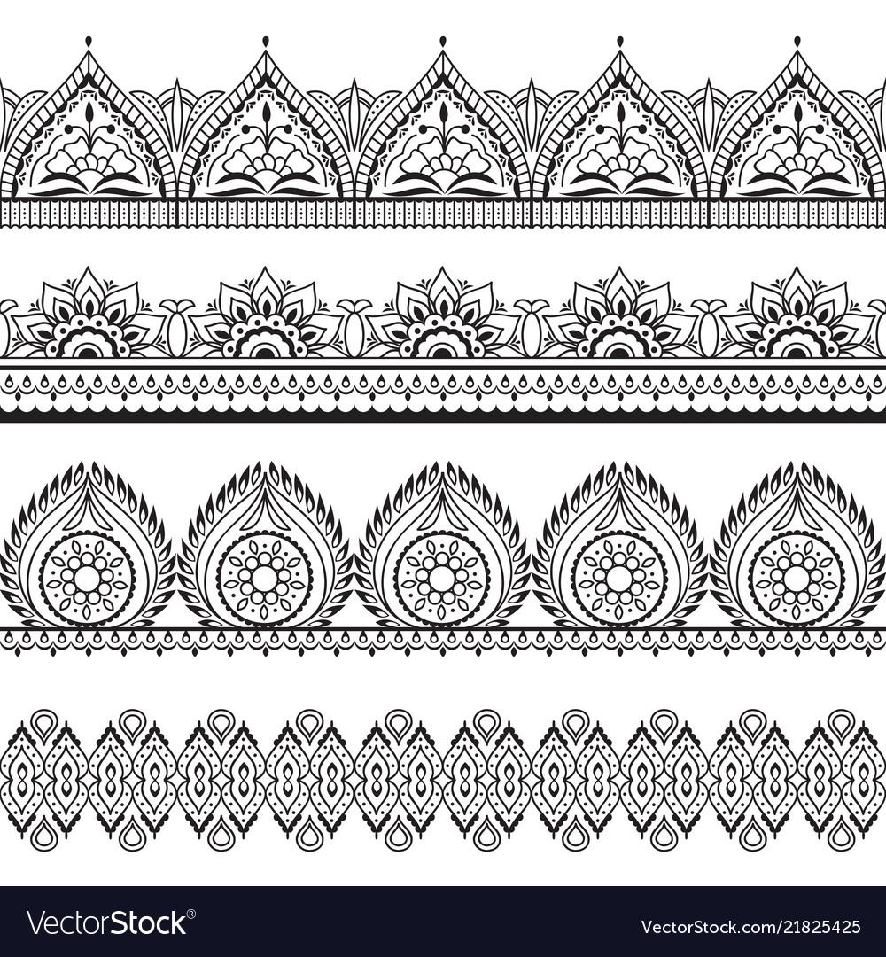 mehndi seamless borders henna