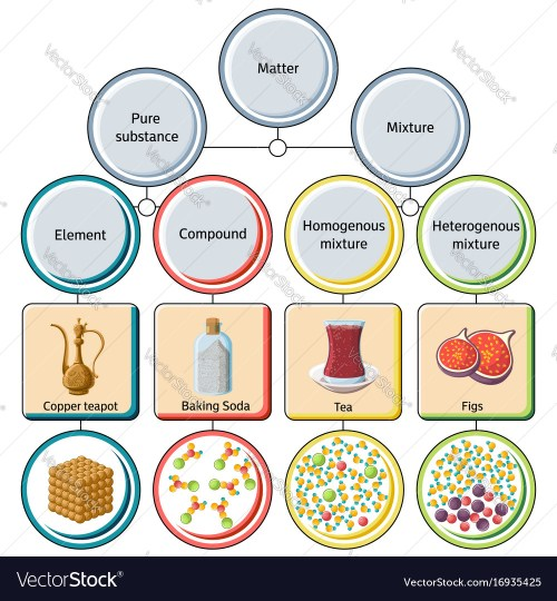 small resolution of pure substances and mixtures diagram vector image