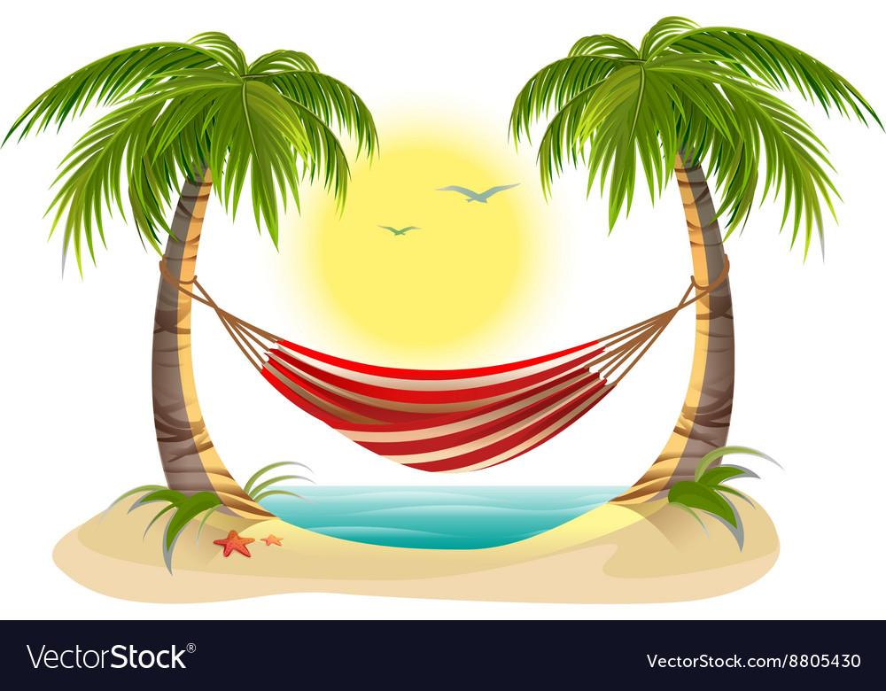 beach vacation hammock between