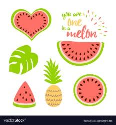 Watermelon clip art collection watermelon slice Vector Image