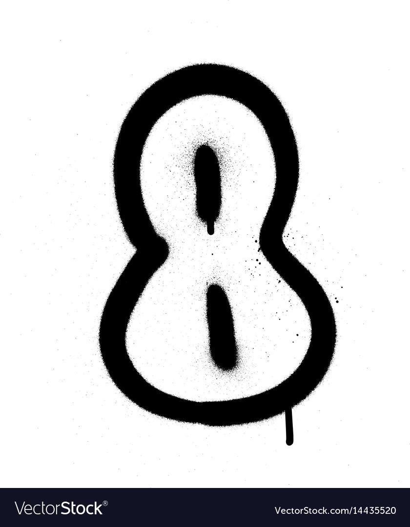 Bubble Graffiti Numbers : bubble, graffiti, numbers, Graffiti, Bubble, Number, Black, White, Vector, Image