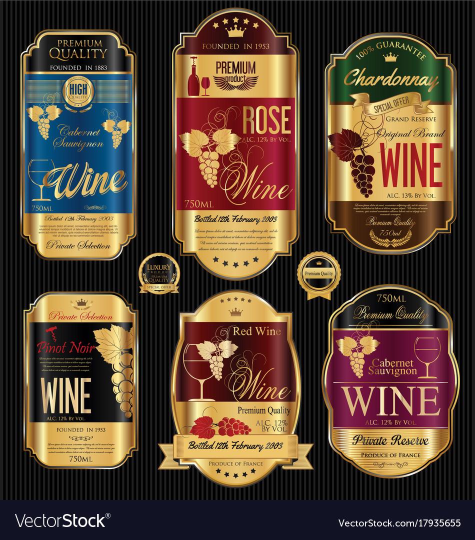 luxury golden wine labels