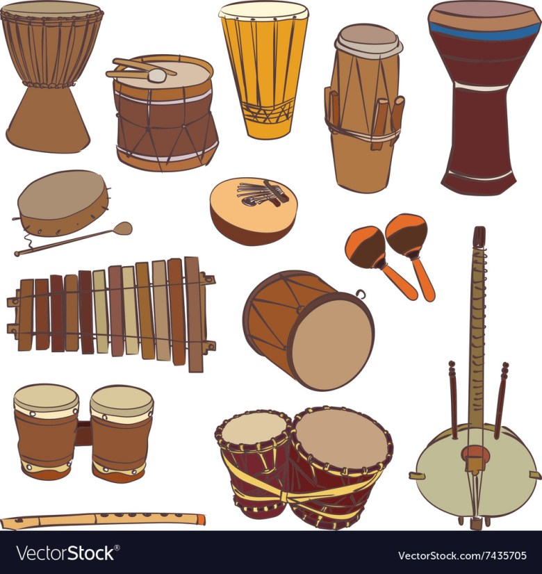 african traditional musical instruments royalty free vector