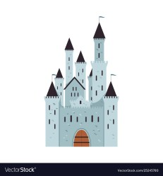 Medieval fantasy castle with towers and flags Vector Image