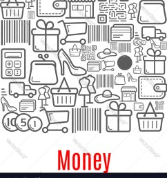 money purse of shopping retail icons vector image [ 918 x 1080 Pixel ]