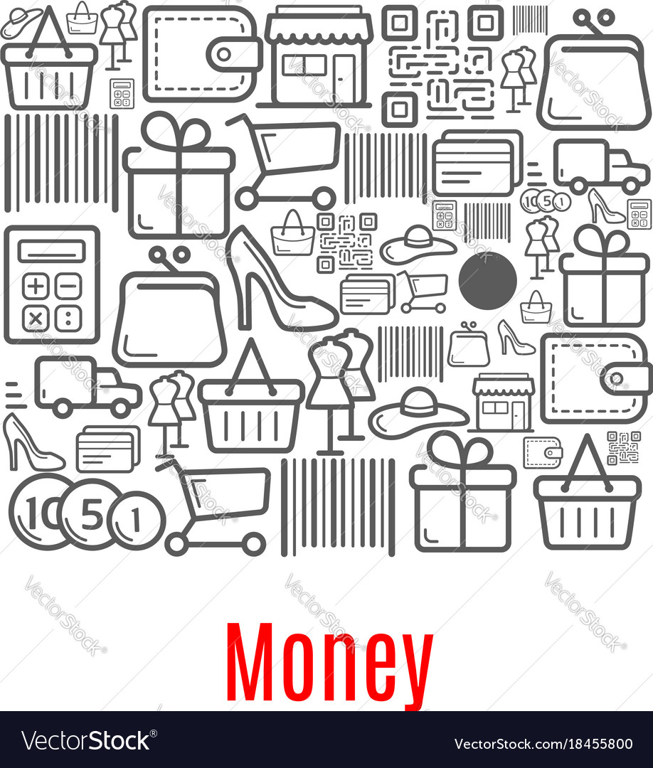hight resolution of money purse of shopping retail icons vector image