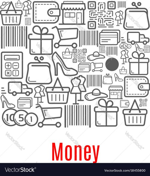 small resolution of money purse of shopping retail icons vector image