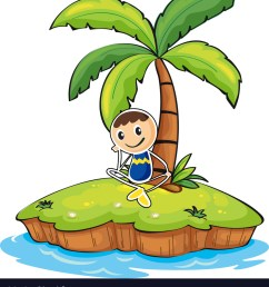a boy sitting under the coconut tree vector image [ 917 x 1080 Pixel ]