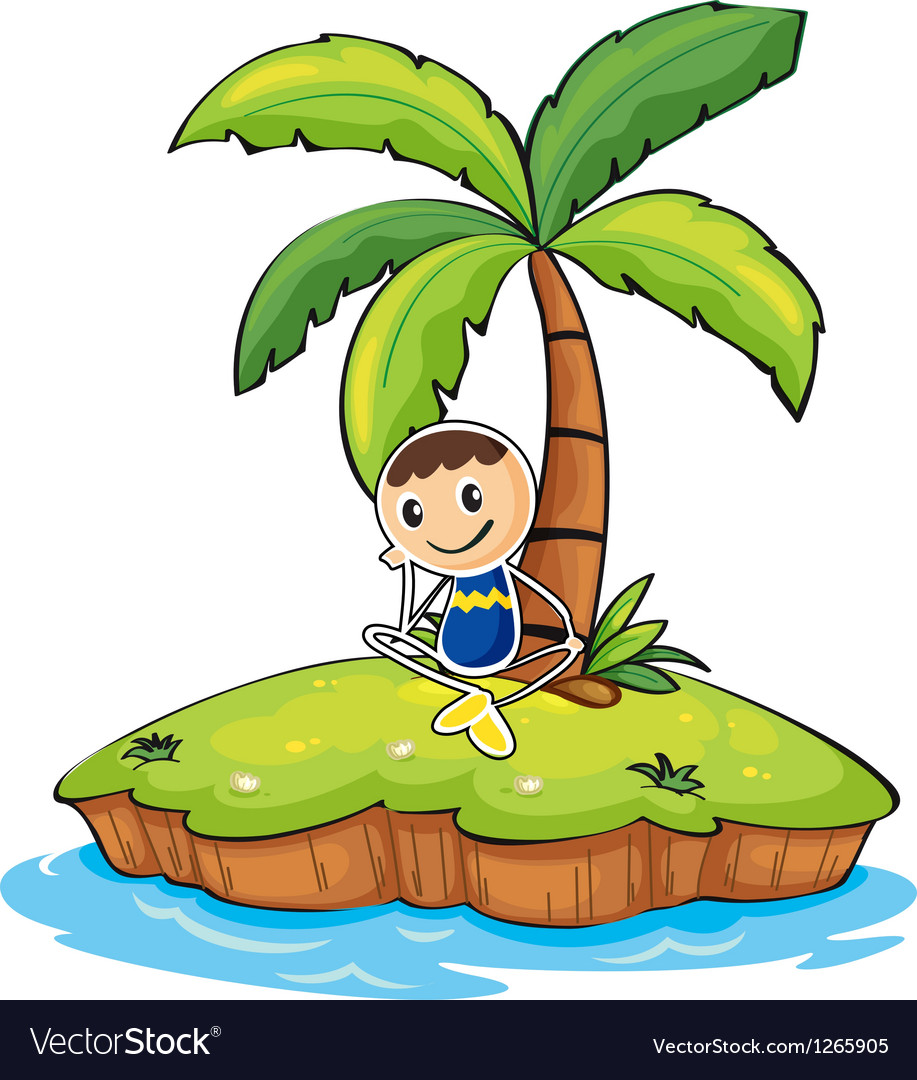 hight resolution of a boy sitting under the coconut tree vector image