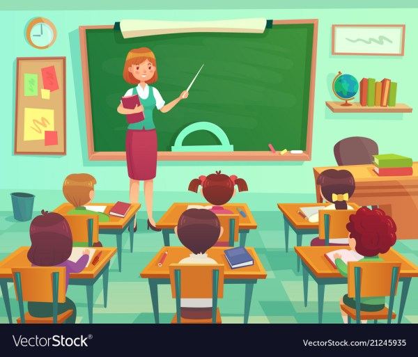 Classroom With Kids Teacher Professor Teaches Vector