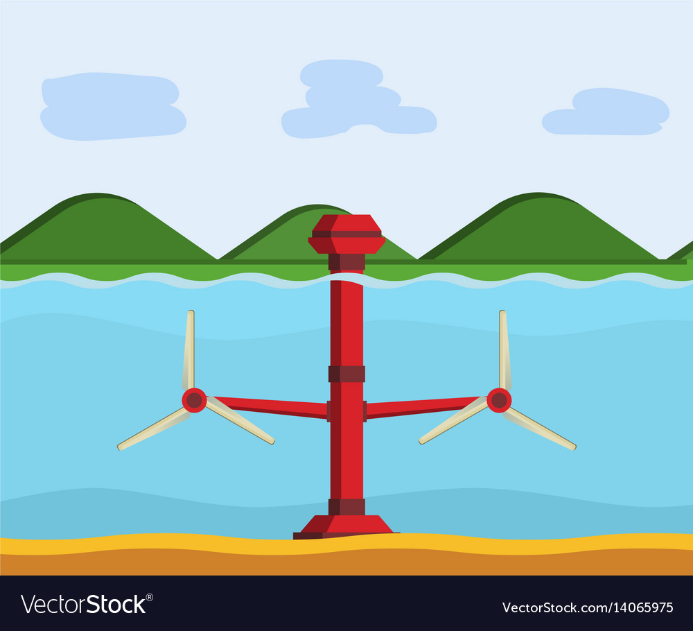 hight resolution of tidal power station vector image