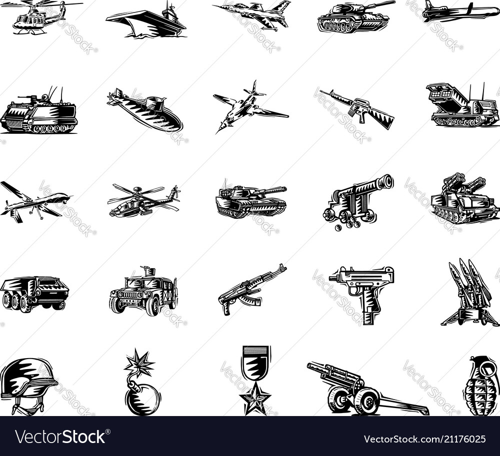 hight resolution of military tool clipart cartoon set vector image