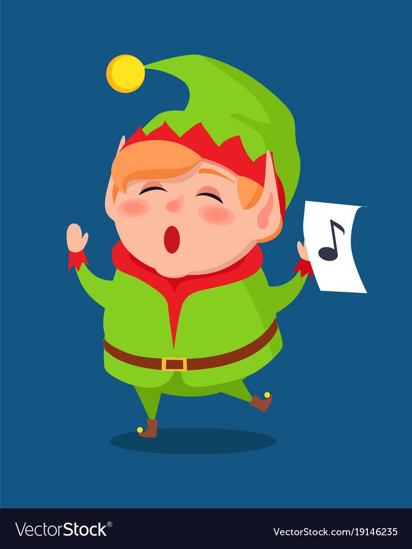 cute elf singing carol