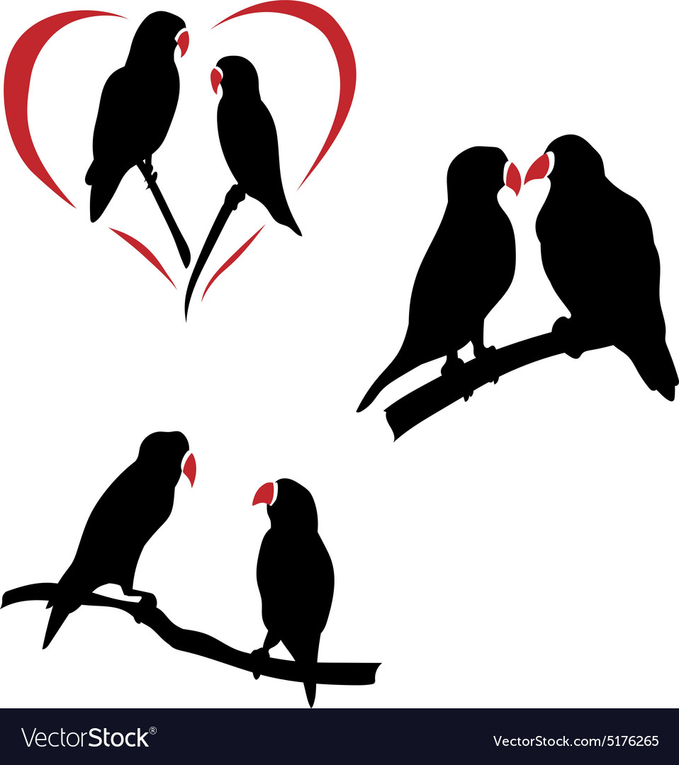 Download Silhouettes of a lovebird Royalty Free Vector Image