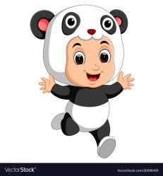 panda cartoon boy costume cute wearing vector royalty