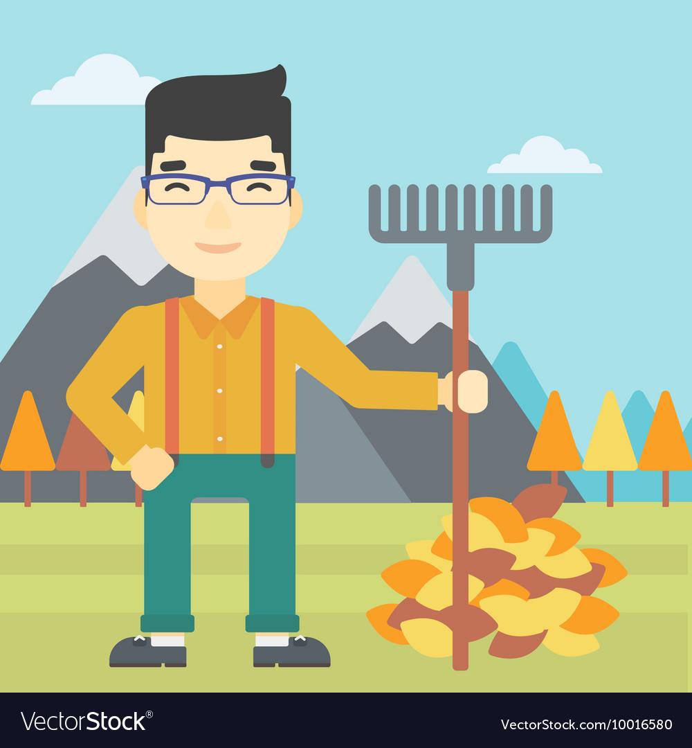medium resolution of man raking autumn leaves vector image