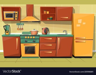 Cartoon kitchen counter with appliances Royalty Free Vector