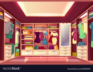 closet cartoon vector walk womans interior room dressing royalty clothes illustration vectors clipart hanging illustrations dreamstime