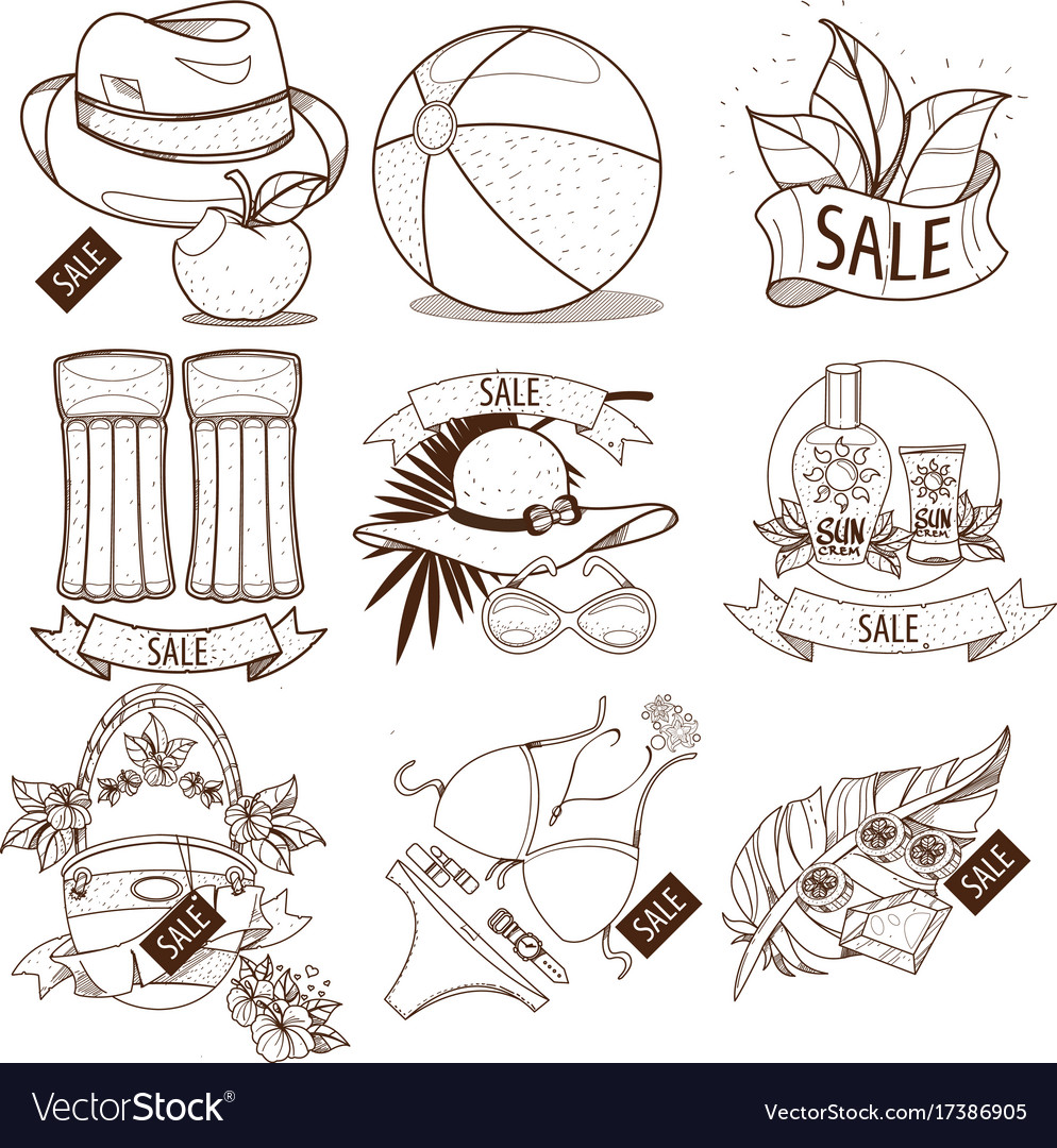 Set Of Outline Drawing Of Summer Vacation Resort Vector Image