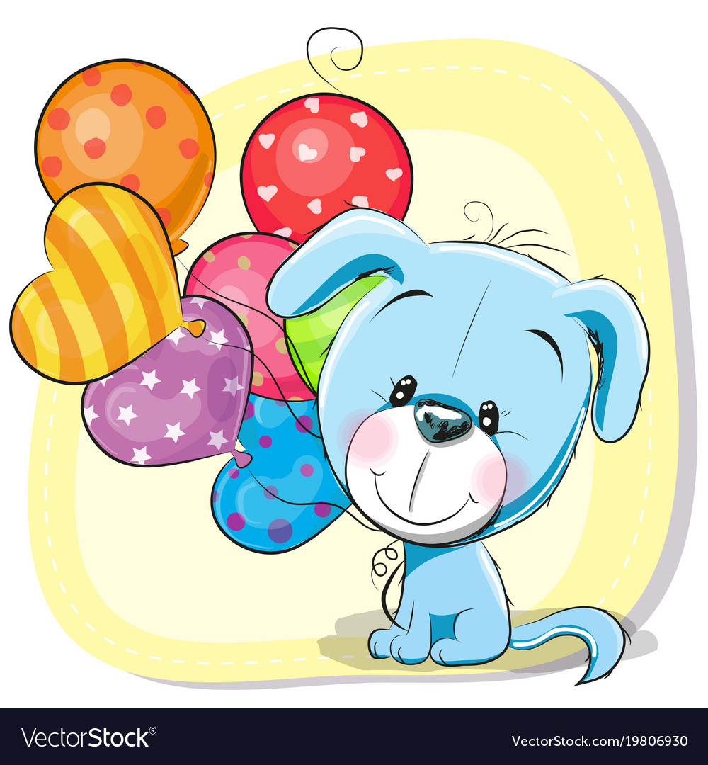 Cute Cartoon Puppy With Balloons Royalty Free Vector Image