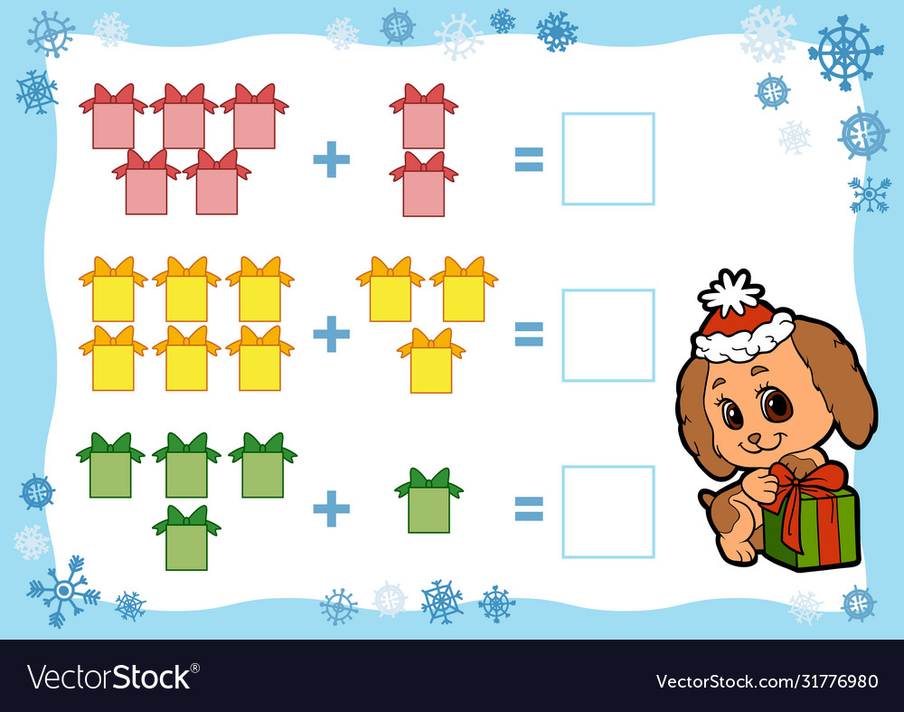 medium resolution of Counting game for children addition worksheets Vector Image