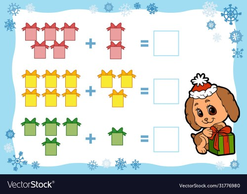 small resolution of Counting game for children addition worksheets Vector Image