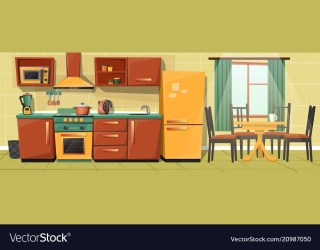 Cartoon family kitchen with appliances Royalty Free Vector
