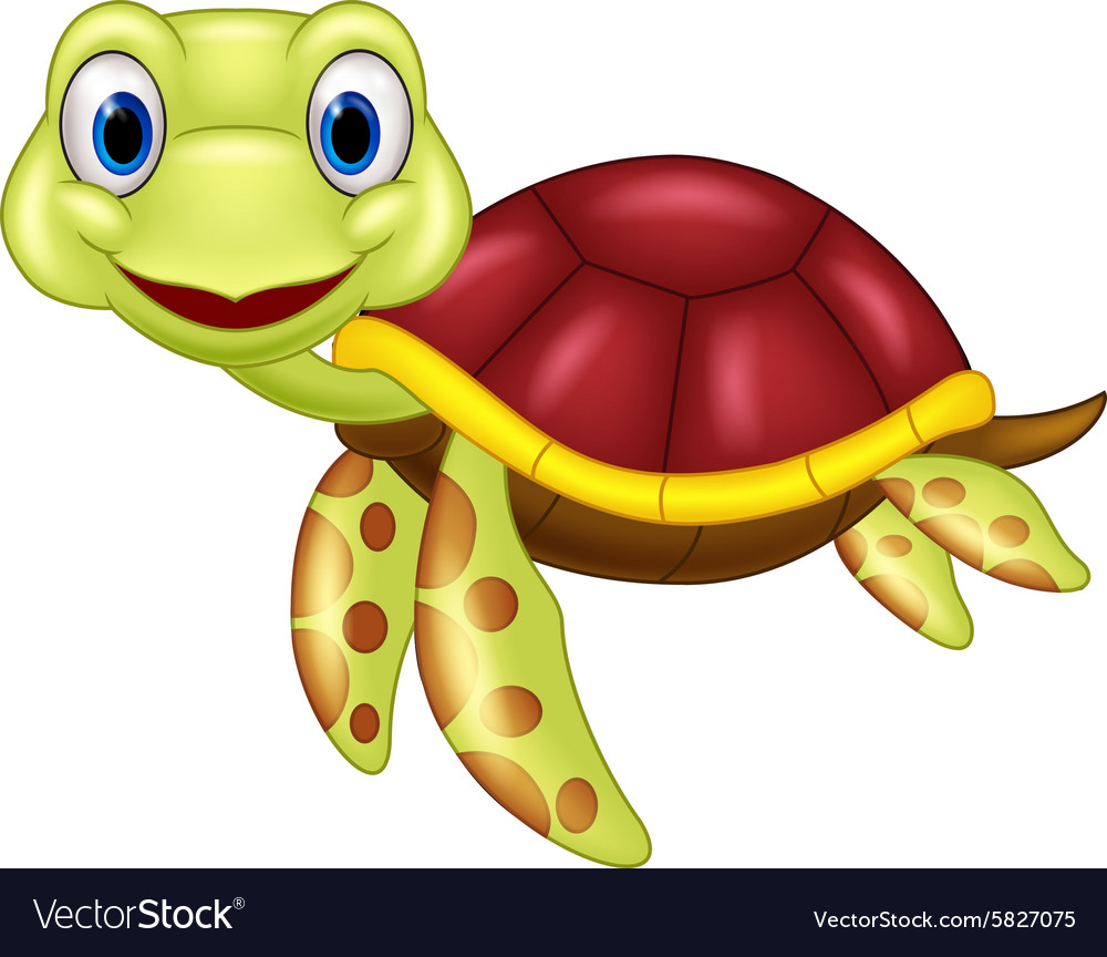 hight resolution of cartoon baby cute turtle vector image