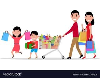 Cartoon happy family shopping supermarket Vector Image