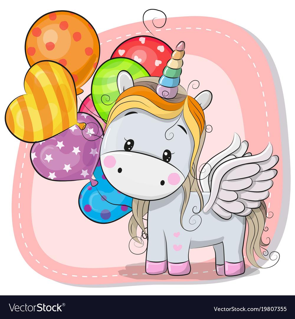 Girl Holding Teddy Bear Wallpapers Cute Cartoon Unicorn With Balloon Royalty Free Vector Image
