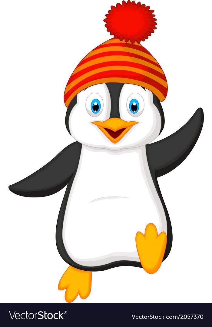 cute penguin cartoon wearing