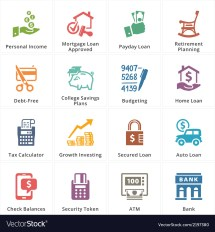 Personal Business Finance Icons Set 2 Royalty Free Vector