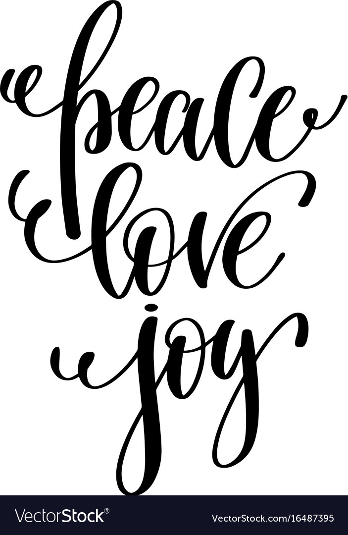 Download Peace love joy hand lettering positive quote to Vector Image