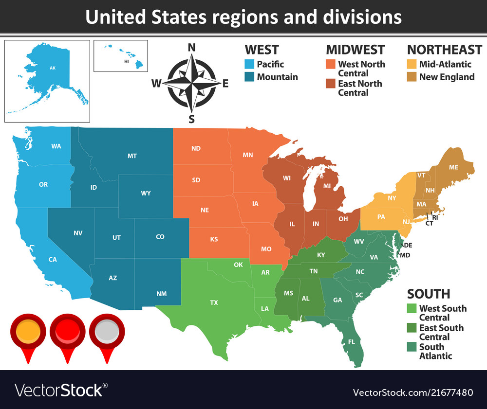 Some of the neighborhoods there are some of the oldest in the country. United States Regions And Divisions Royalty Free Vector