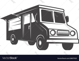 Food truck emblem isolated on white background Vector Image