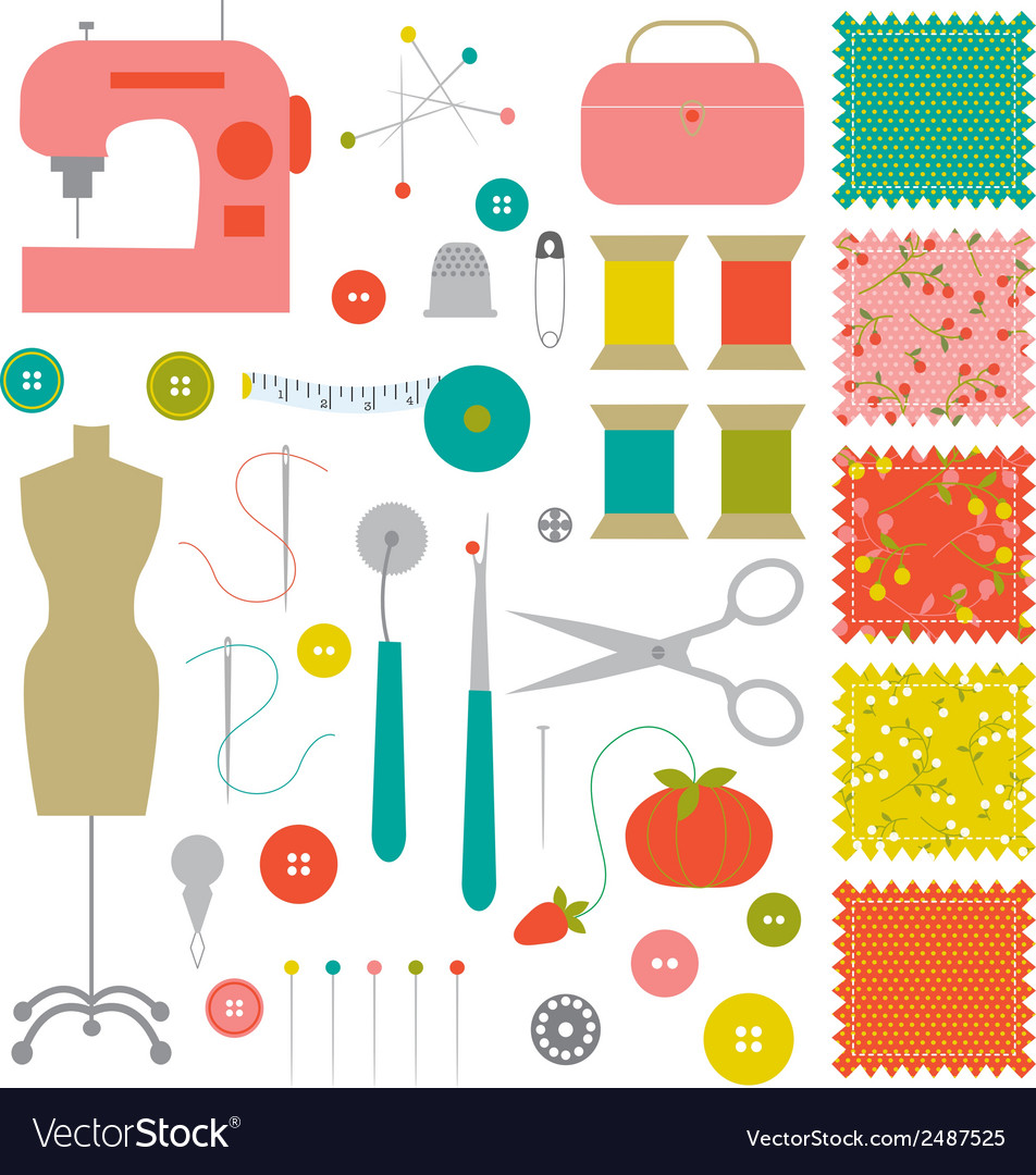 hight resolution of sewing clipart vector image