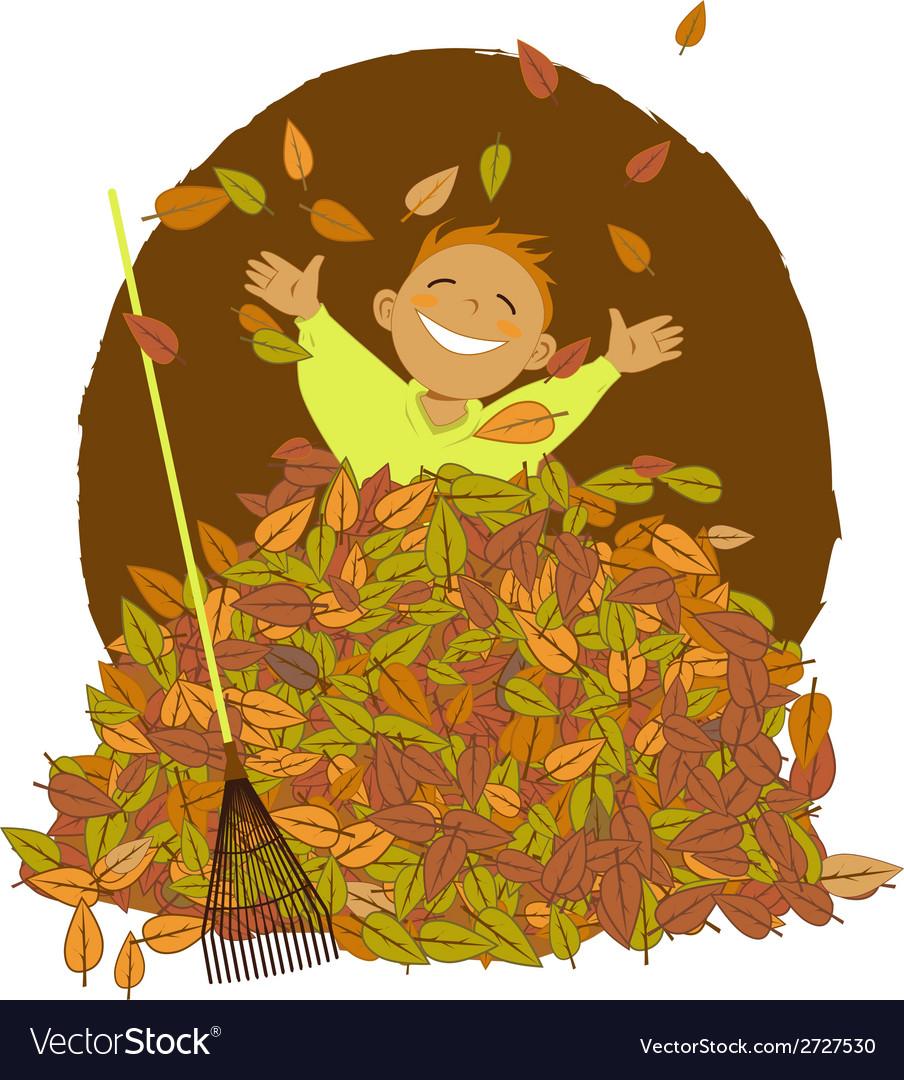 hight resolution of raking leaves vector image