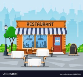 Restaurant building city background street Vector Image