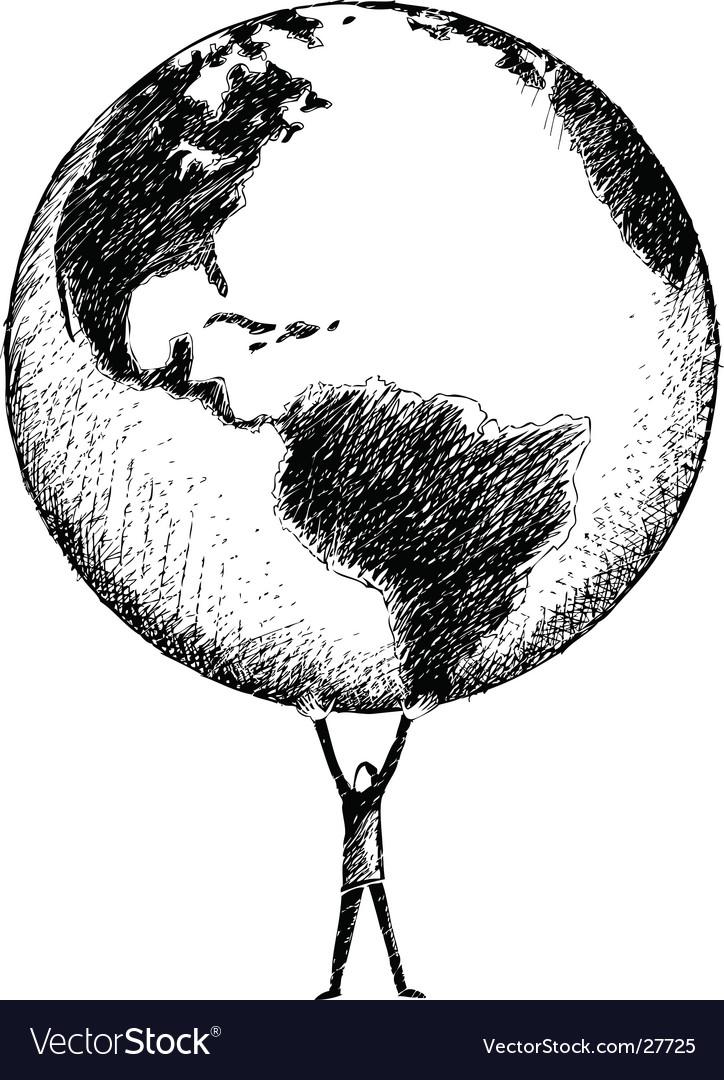 World In Hands Drawing : world, hands, drawing, World, Hands, Royalty, Vector, Image, VectorStock