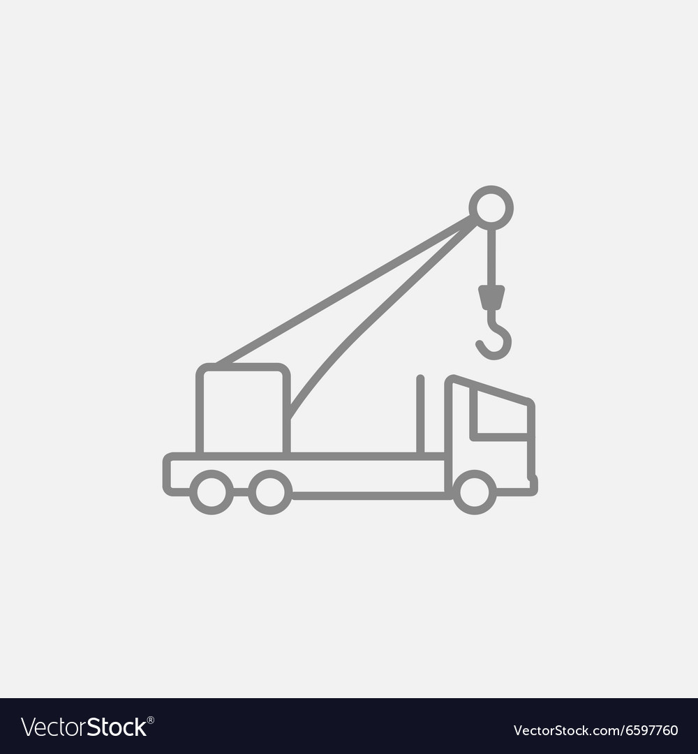 hight resolution of mobile crane line icon vector image