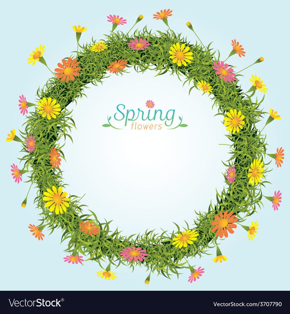 Flowers Spring Season Wreath Royalty Free Vector Image