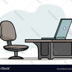 Office Chair Illustration Weird Pics Cartoon Laptop On Table With Vector Image